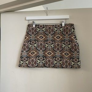 Zara Trafaluc Textured Patterned Mini Skirt
